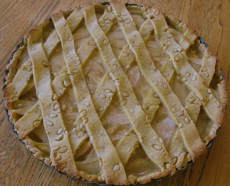 Pear Tart with Olive Oil-Cornmeal-Pine Nut Crust